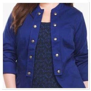 Torrid military utility jacket blue open blazer